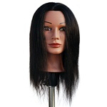 "Marianna 22"" Cosmetology Mannequin Head 100% Human Hair Ethnic - Miss Jenny"