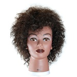 "Celebrity 18"" Afro Cosmetology Mannequin Head 100% Human Hair, Black - Naomi"