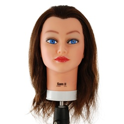 "Celebrity by Burmax 22"" Cosmetology Mannequin Head 100% Human Hair, Brown - Sam II"