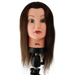 "Celebrity 21"" Cosmetology Mannequin Head 100% Human Hair, Brown - Debra"