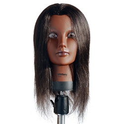 "Celebrity 21"" Ethnic Cosmetology Mannequin Head 100% Human Hair, Black - Whitney"